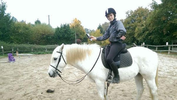 cheval a l'arret avec cavaliere et lecteur