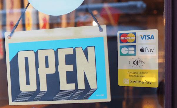 Vitrophanie logos cartes bancaires
