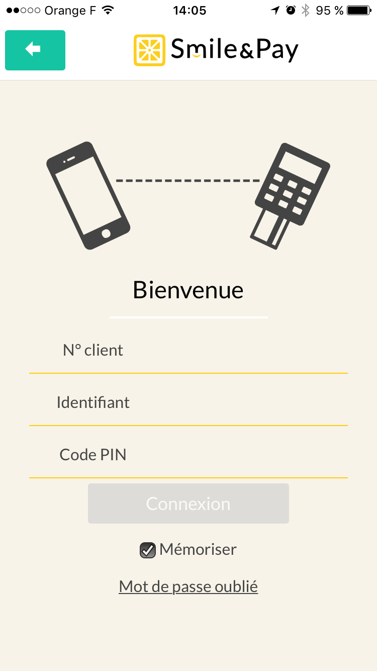 screenshot app smile&pay - login